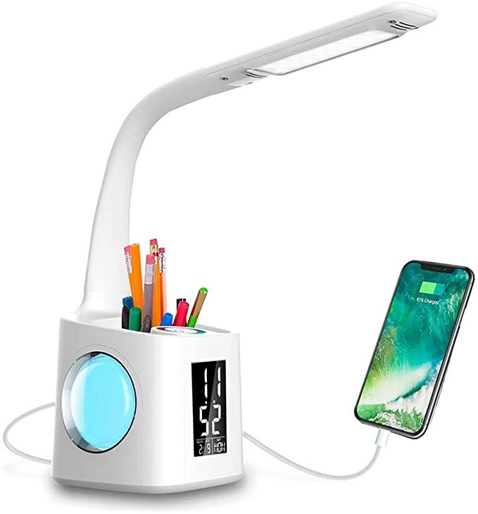 Amazon Com Wanjiaone Study Led Desk Lamp With Usb Charging Port Screen Calendar Color Night Light Kids Dimmable Led Tabl In 2020 Led Desk Lamp Desk Lamp Ceramic Lamp