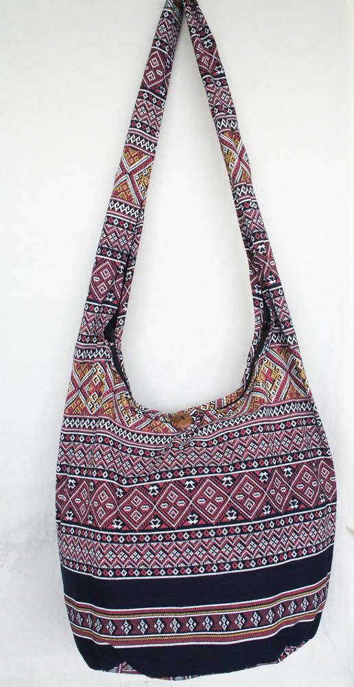 YAAMSTORE thai northern art graphic navy blue hobo bag sling shoulder crossbody hippie boho purse