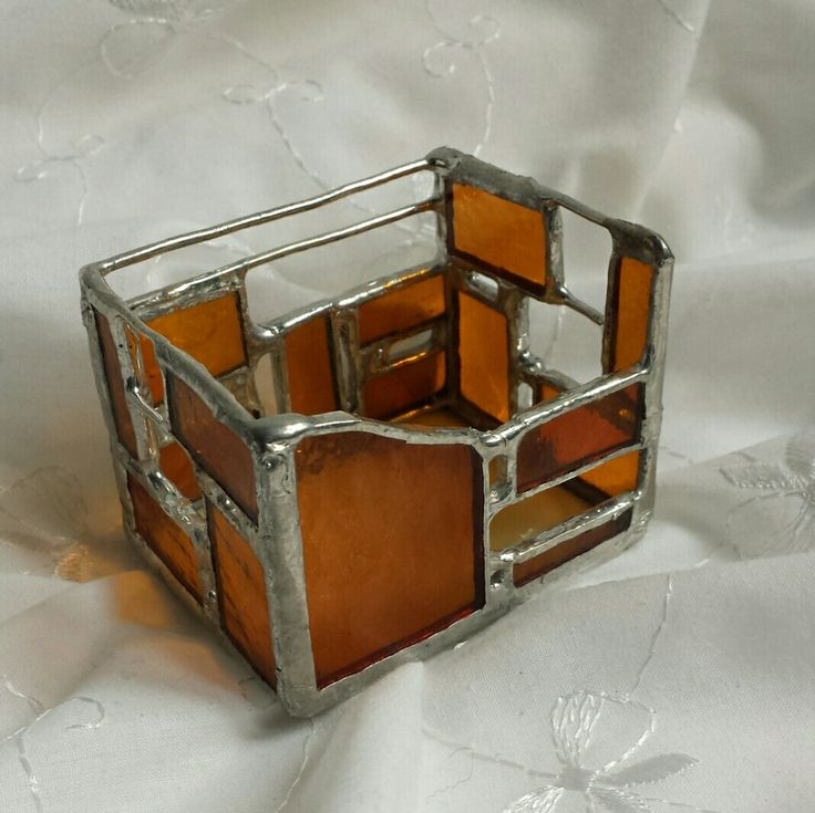 Świecznik lub pojemniczek ze szkła,technika Tiffany