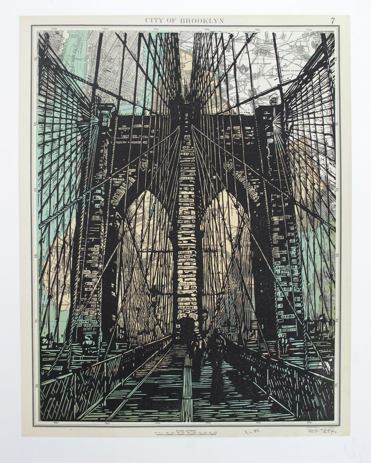 Brooklyn Bridge ~ Linocut (3 color), Rives BFK, 16 x 20 inch ~ Eric Rewitzer (3 Fish Studios)
