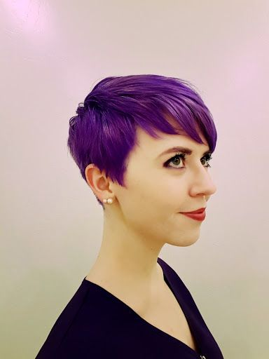 This cut with slightly longer on left side. Would love this color, too, or at least highlights this shade. Abbyishness: Purple Pixie Returns