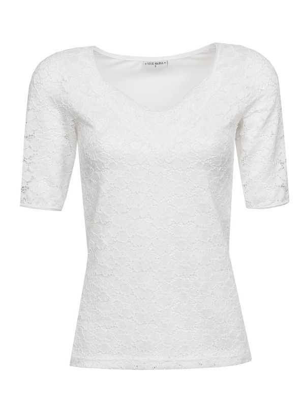 Vive Maria Romantic Lace Shirt weiss Damen T-Shirts, Tops & Blusen wit white kanten stof