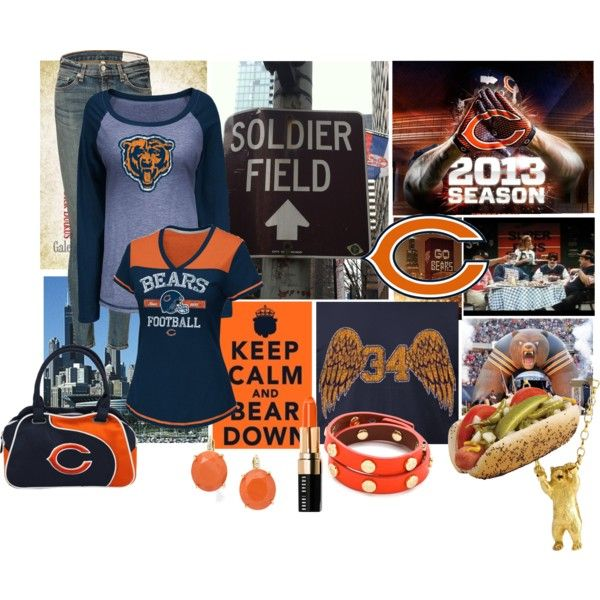"""""""Bear Down"""" by eyeloveit on Polyvore For a football contest.  Vote here http://www.polyvore.com/bear_down/set?id=96163423 or follow me on Polyvore - Eyeloveit  #Bears #Da Bears #Chicago Bears"""