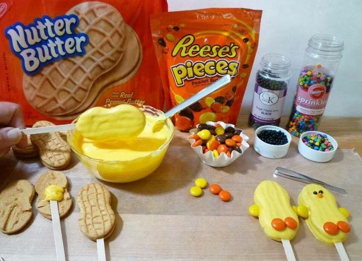 Nutter Butter cookies dipped in chocolate dyed with an oil based yellow food coloring or yellow chocolates. Untwist the cookie use a little dob of the chocolate to secure a sucker stick  to one side of the cookie then put it back together. Dip cookie on stick into melted chocolate. Use orange Reese's pieces to create the feet. Use tiny chocolate chips/chocolate sprinkles or a black decorating gel to create the eyes. Orange sprinkles for nose, Reese's pieces for arms. Place on wax paper to…