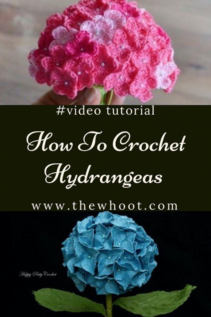 Crochet Hydrangea Flower Pattern Free Video Tutorial Crochet Flowers Free Pattern Knitted Flower Pattern Crochet Flower Patterns