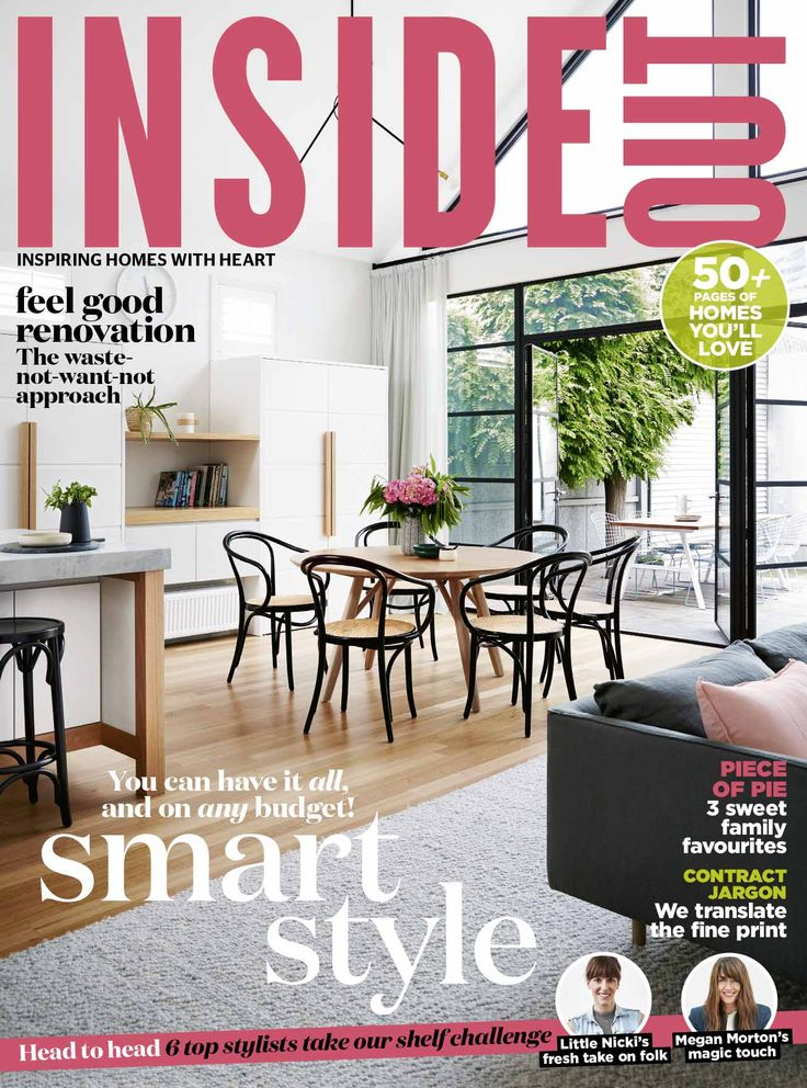 The cover of the July 2016 issue of Inside Out magazine. Styling by Heather Nette King. Photography by Armelle Habib. Available from newsagents, Zinio,www.zinio.com, Google Play, https://play.google.com/store/newsstand/details/Inside_Out?id=CAowu8qZAQ, Apple's Newsstand,https://play.google.com/store/newsstand/details/Inside_Out?id=CAowu8qZAQ, and Nook.