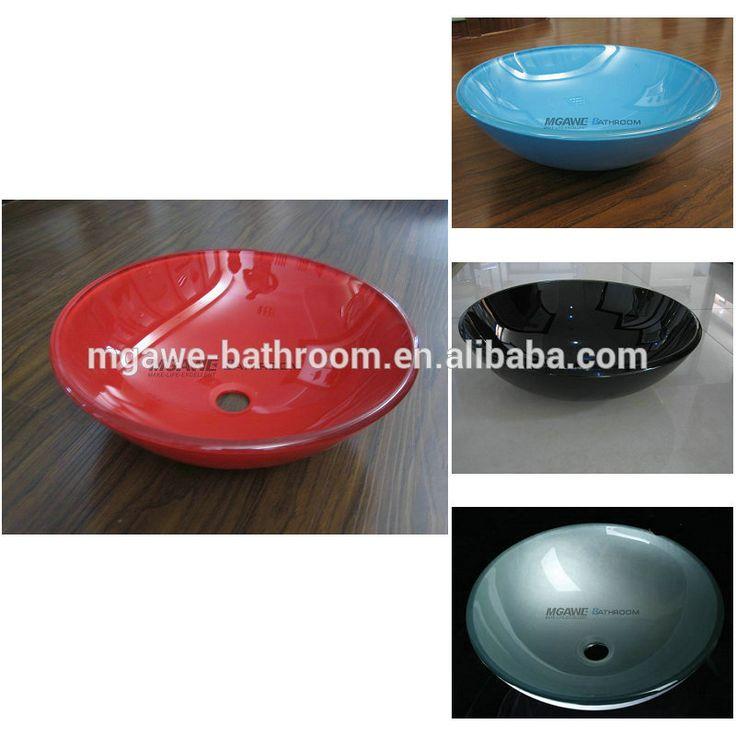 Hangzhou Tempered Glass Wash Hand Basin Sink painted Glass Vessel Sink Bathroom Glass Basin