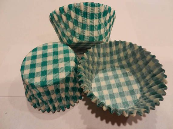 48 Green Gingham Picnic Style Standard Size Paper Cupcake