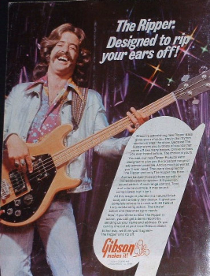 Gibson Ripper bass guitar rips your ears off 1975 photo print Advertisement by paperboyspaper on Etsy https://www.etsy.com/listing/192106092/gibson-ripper-bass-guitar-rips-your-ears
