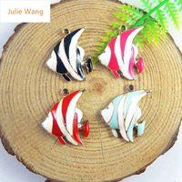 Julie ван 6 шт. мини прелести сплава капли масла смешать цвет vivid тропические рыбы ювелирные ремесла браслет внесении подвеска аксессуары