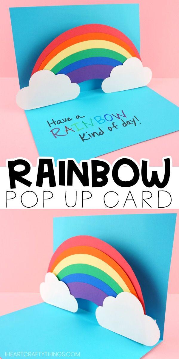 How To Make An Easy Pop Up Rainbow Card Rainbow Card Pop Up Card Templates Simple Birthday Cards