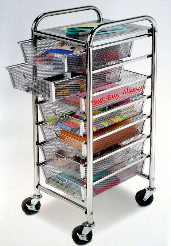 7 Drawer Rolling Organizer With Table All Metal Mesh