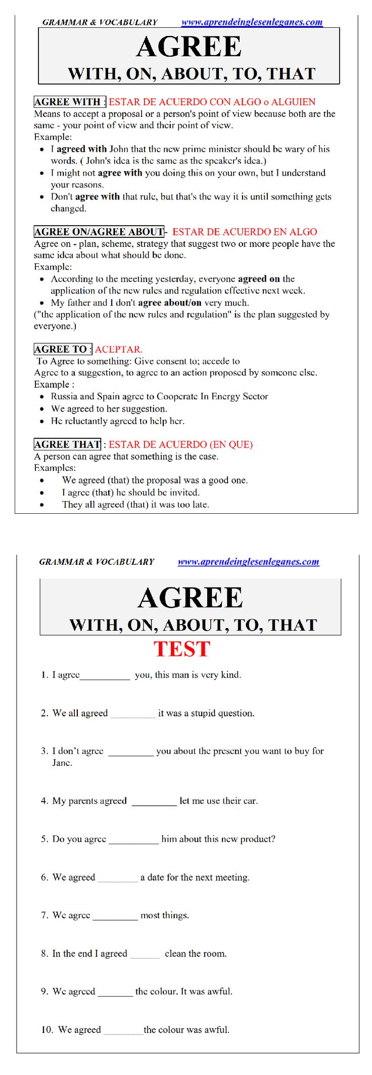 Agree on Agree about Agree with Advanced English Grammar FCE CAE