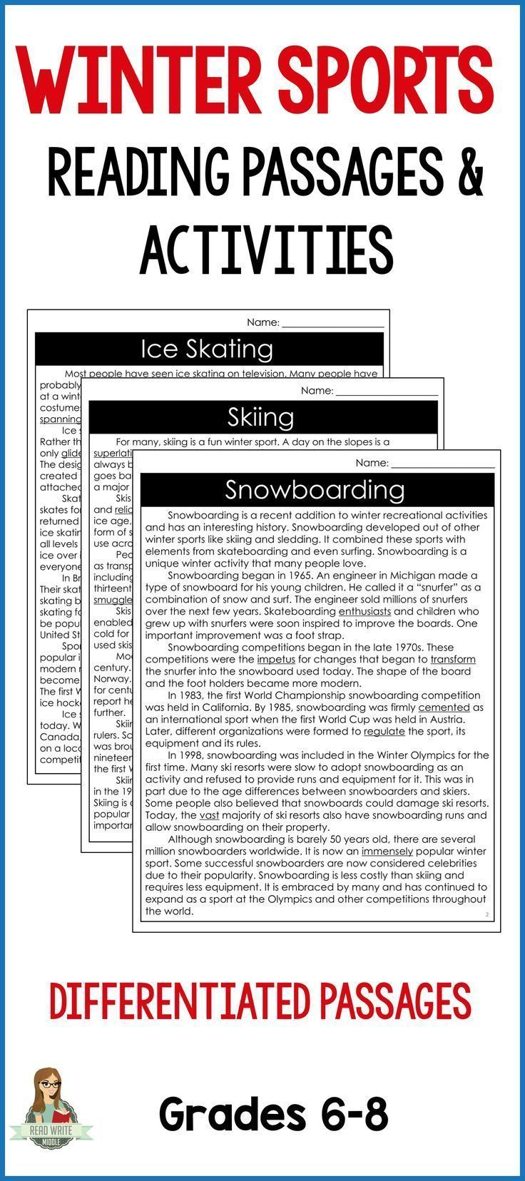 This bundles includes three different reading comprehension passages and questions that cover the history of ice skating, skiing & snowboarding. Each passage is written at two reading levels and includes a differentiated context clues activity. Reading comprehension questions and a writing activity are also included for each passage.