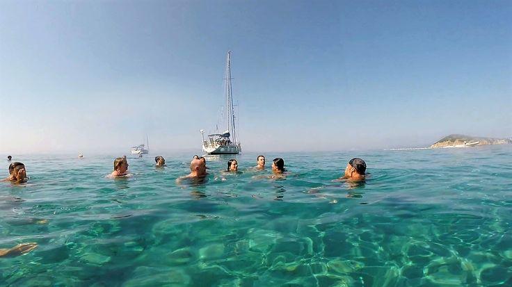 enjoying an early morning swim at Tsougria island near Skiathos.