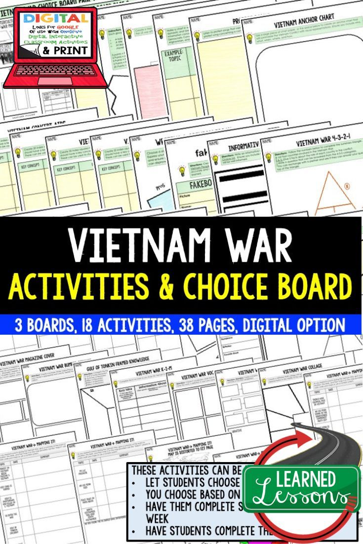 Vietnam War Choice Board With Templates Print And Google Versions Covers A Variety Of Vietnam War Activities Vietnam War Activities Vietnam War Choice Boards
