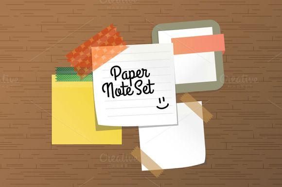 Paper Note Set by Beatriz Gascón on Creative Market