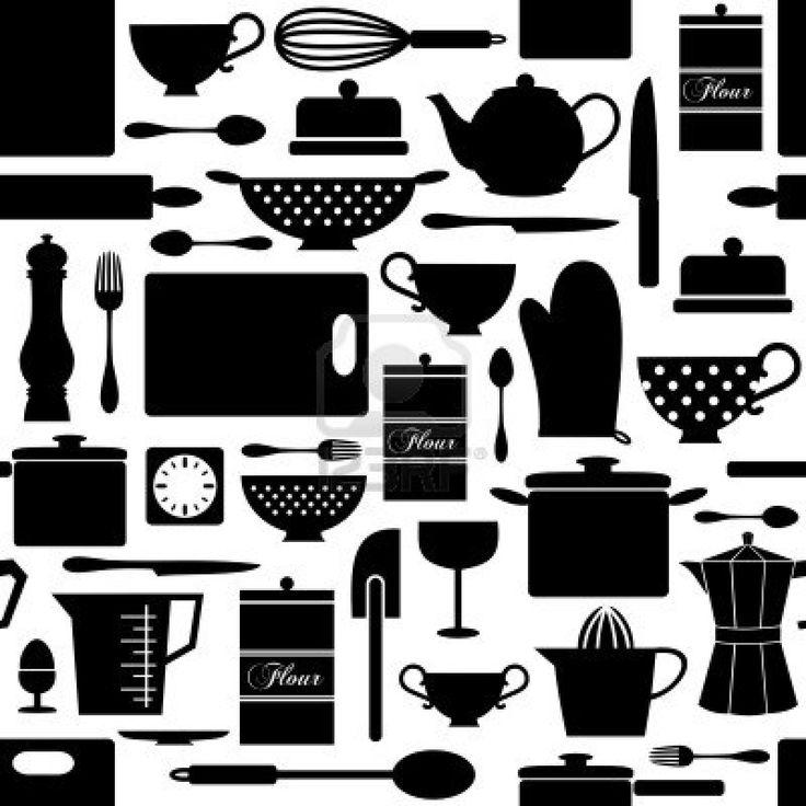 Naadloos patroon met keuken artikelen in zwart en wit. Stockfoto - 13584901