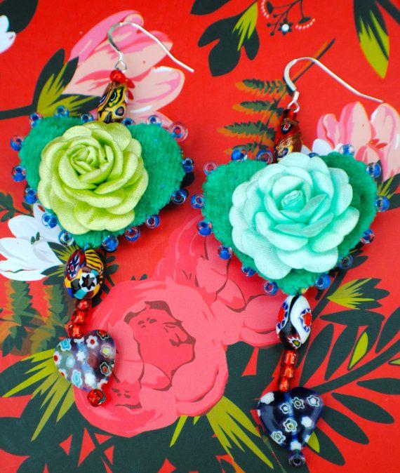 Heart Dangle Earrings in Green with Venetian Glass by MrsMacBeth, £42.00