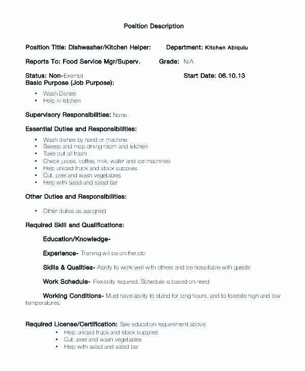 23 Food Service Job Description Resume In 2020 Resume Examples