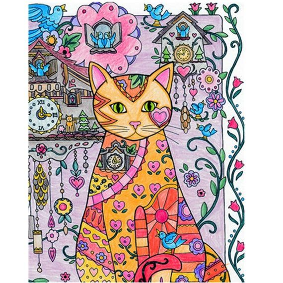5d Diy Diamond Painting Cartoon Animal Cat Diamond Embroidery Cross Stitch Home Decor In 2020 Cat Coloring Book Kitten Drawing Diamond Painting
