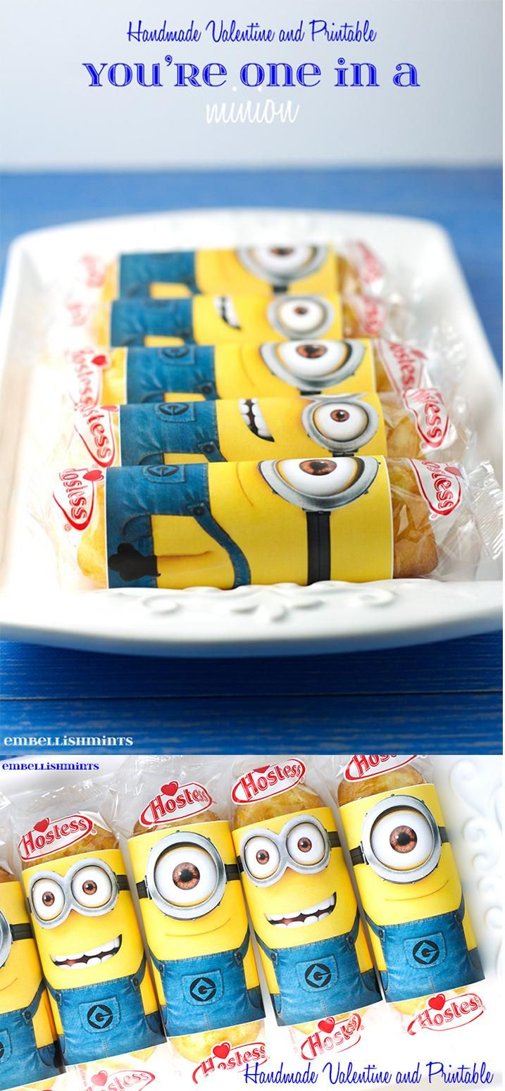 You're One In A Minion Twinkie Printable is such a cute handmade valentine idea. Kids love a cute minion, twinkie and Valentine's Day. www.Embellishmints.com