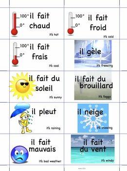Quel temps fait-il? (10 cartes) FRENCH