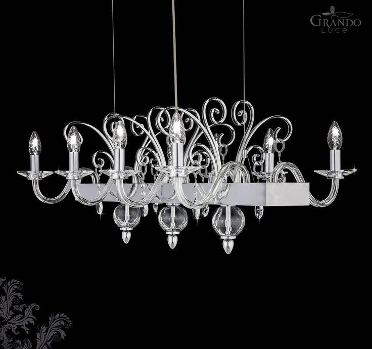 120/8 RL chrome crystal chandelier with Swarovski Spectra. - GrandoLuce