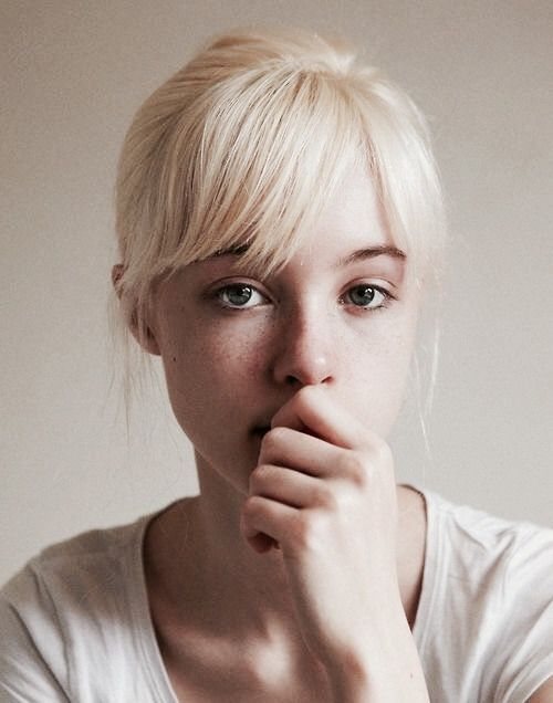 white, lite blonde, blue eyes, long hai, freckles
