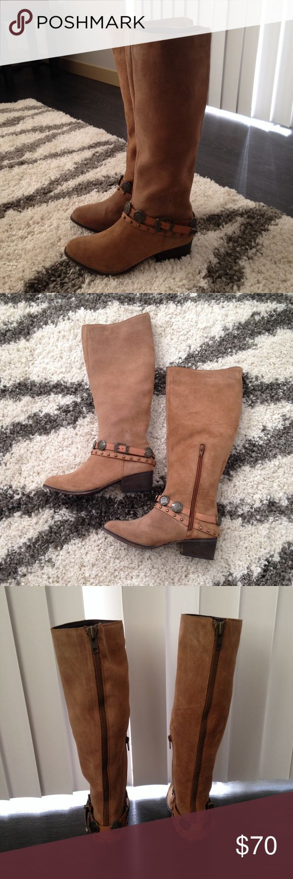 NWT Brown Heel Knee High Western Boots Size 8 So cute! Boutique Shoes Heeled Boots