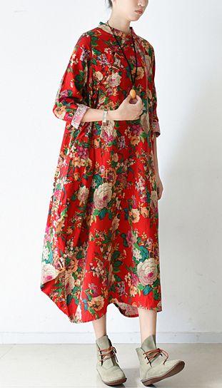 2017 spring blossom flowers print linen dresses bagg cotton dress