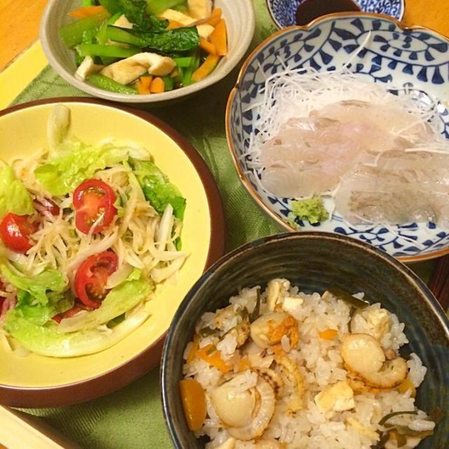 新玉ねぎと大根わさびポン酢サラダ、小松菜煮浸し。 - 8件のもぐもぐ - ベビー帆立炊き込みごはん、ヒラメ刺身 by hiromange