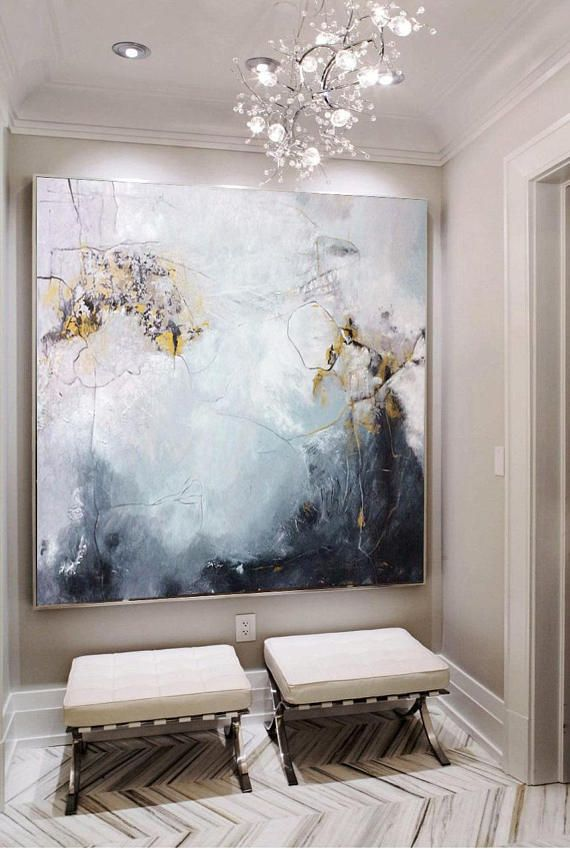 Large Oil Painting Abstract Black And White Art Gray Painting White Painting Gold Painting Living Room Art Abstract Painting Canvas