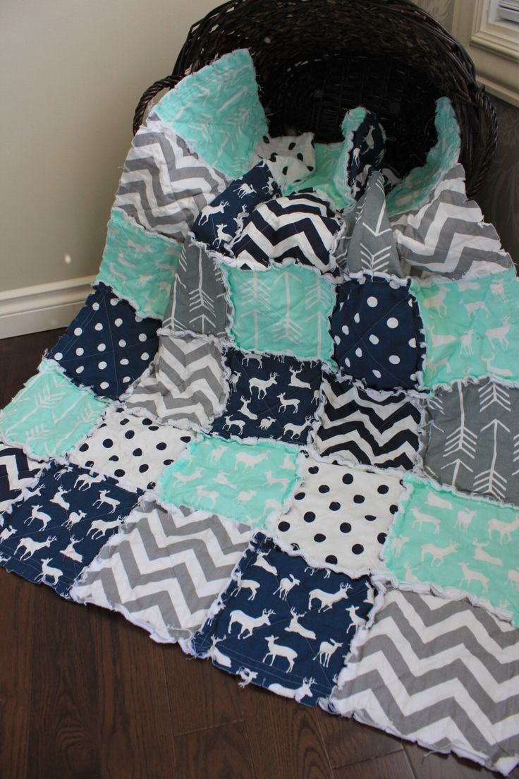 Rag Quilt, Baby Rag Quilt, Crib Blanket, Premier Prints, Mint And Navy, Arrow, Deer Quilt, Ready To Ship by RozonsRags on Etsy https://www.etsy.com/listing/226220802/rag-quilt-baby-rag-quilt-crib-blanket