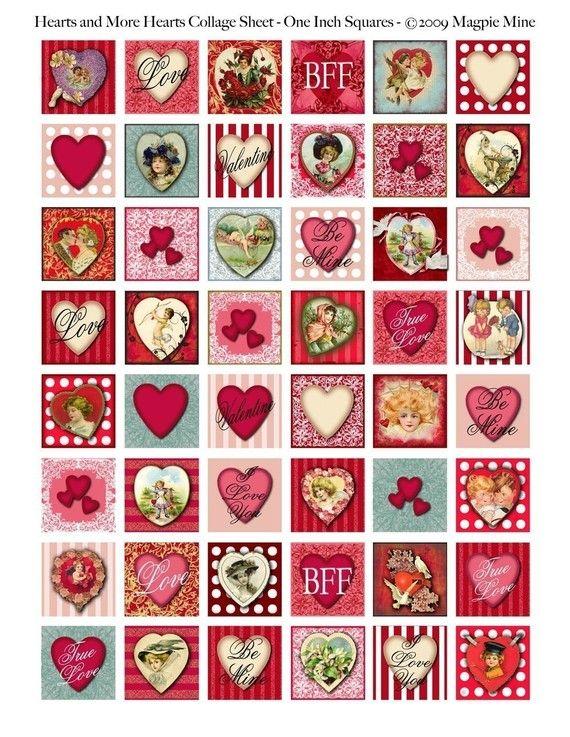 Corazones y más corazones de San Valentín Hoja Collage - una de las plazas Inch - tonos de rojo y rosa - para imprimir - Descarga instantánea