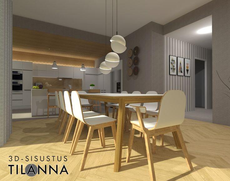 3D-visualisointi ja -sisustussuunnittelu uudiskohteeseen/ moderni - skandinaavinen keittiö ja ruokailutila, sormipaneeli keittiön katossa sekä välitilassa lasin takana, valkoiset mattamaaalatut uralliset kiintokalusteet, betonilattia, tuntomaalilla harmaaksi maalatut seinät, aulan seinällä harmaaraidallinen tapetti, kalanruotoparketti, ruokapöydän päällä valaisin Crescent Light, Lee Broom/ 3D-sisustus Tilanna