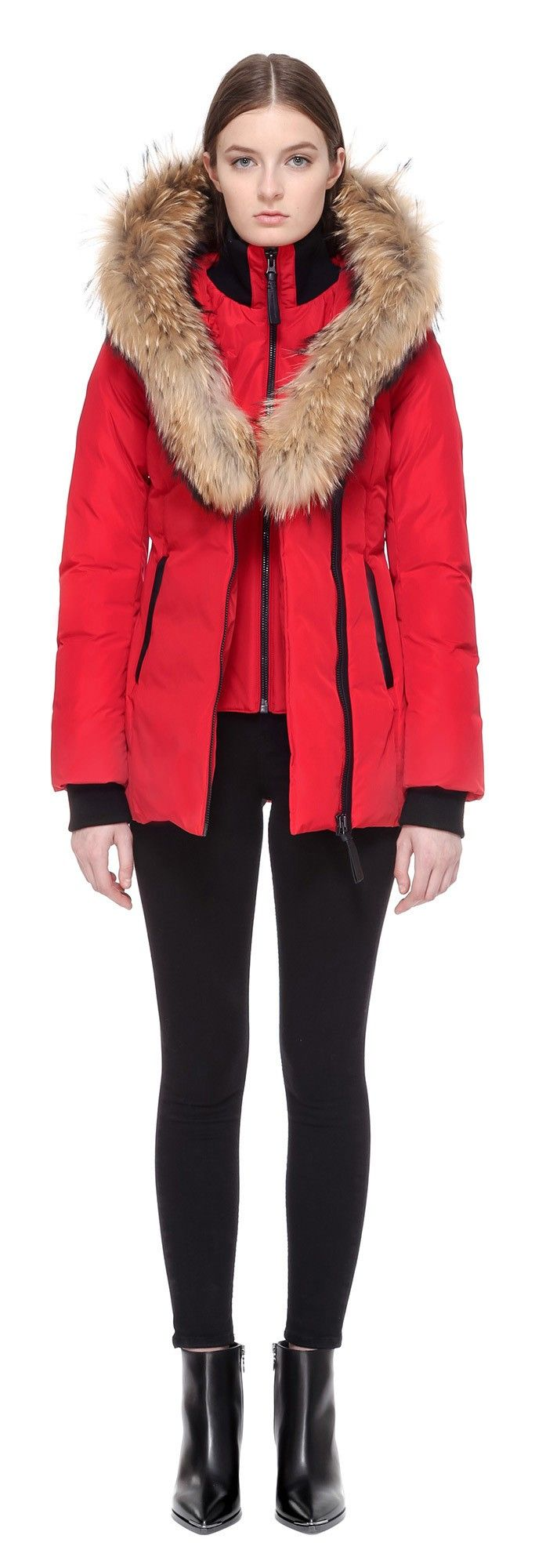 ADALI FITTED WINTER DOWN COAT WITH FUR HOOD IN RED