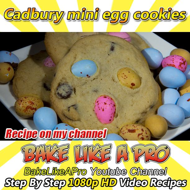 VIDEO RECIPE on my Youtube channel !  Cadbury Mini Egg Cookies Recipe - Easter egg chocolate cookies  Chocolate Easter egg cookies recipe.  I'm using Cadbury mini chocolate Easter eggs in this cookie recipe.  This is a real fun one to try with your children.  Please subscribe, like and share if you can, I do appreciate it.  My Facebook Page: http://www.facebook.com/BakeLikeAPro Twitter: http://twitter.com/BakeLikeAPro Instagram: http://instagram.com/bakelikeapro