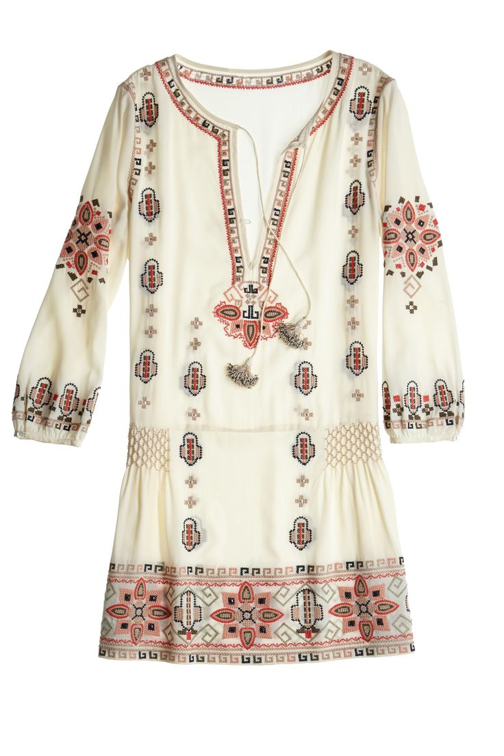 Nona Embroidered Drop Waist Dress