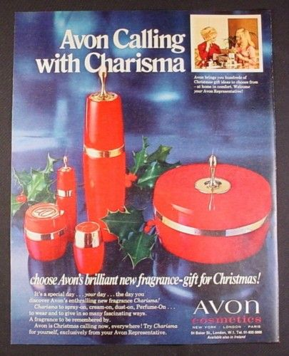 Magazine Ad for Avon Charisma Fragrance, 5 Different Containers, British, 1970