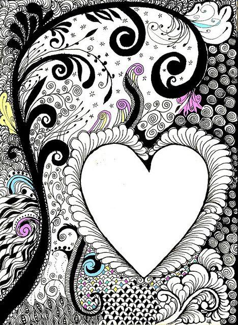 PaperArts Cafe: Zentangle Inspired Art - Heart Journal Page |Zentangle Heart Graphics