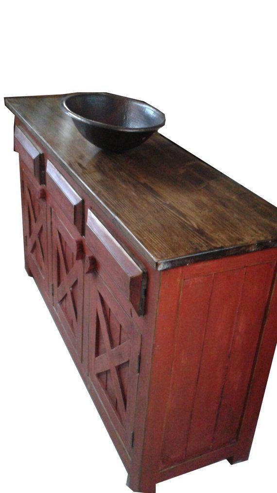 Rustic Reclaimed Wood Red Barn Doors Bathroom Vanity 60 X22 X32 Rustic Reclaimed Wood Red Barn Door Barn Door
