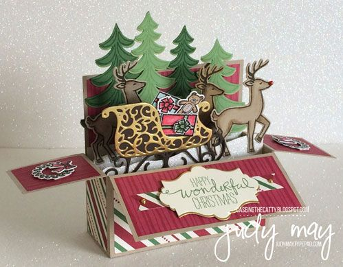 Tutorial available! Stampin' Up! Santa's Sleigh Bundle & This Christmas DSP. Project by Judy May, Melbourne Australia.