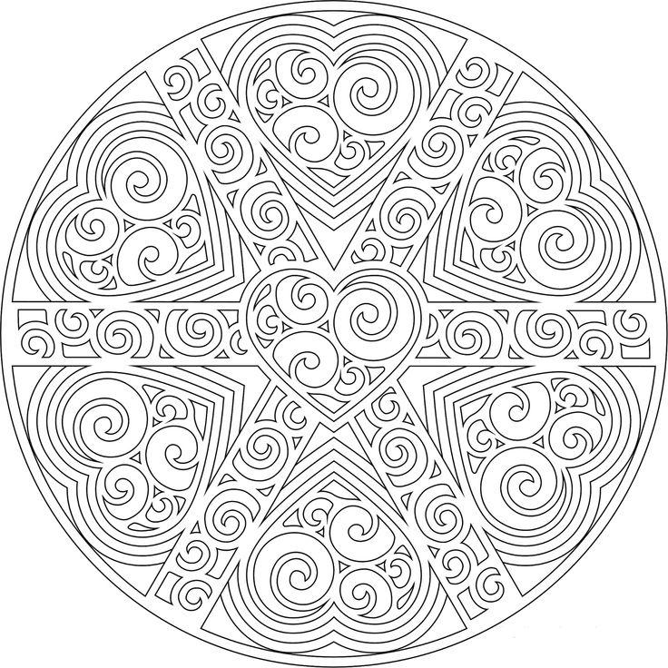 Узоры из сердечек в круге | Раскраски мандала, Рисунки для ...