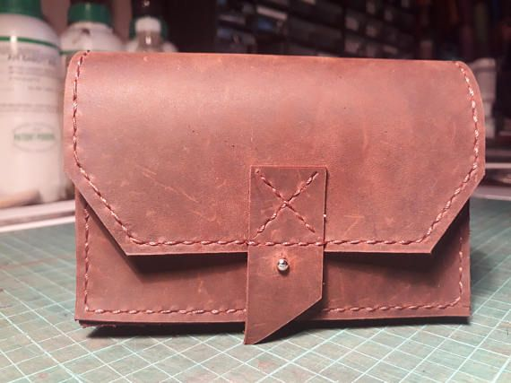 Hand stitched natural leather wallet