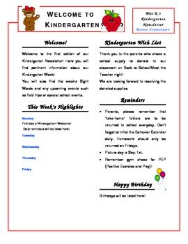 Kindergarten Newsletter Template...Completely edit to suit your needs! CUTE!!!!!
