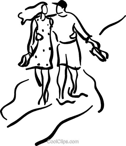 couple walking along the beach royalty free vector clip