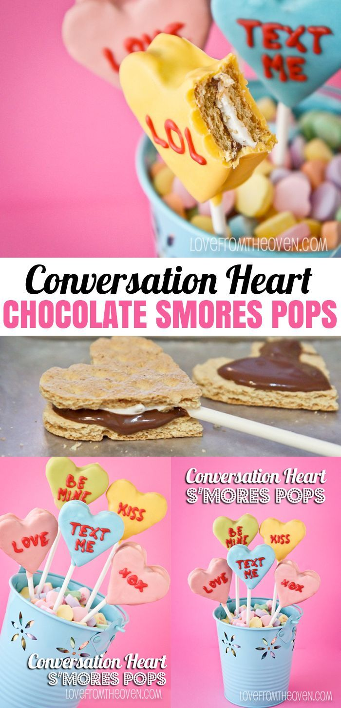 Conversation Heart Chocolate Smores Pops for Valentine's Day.  So cute and you can personalize them!