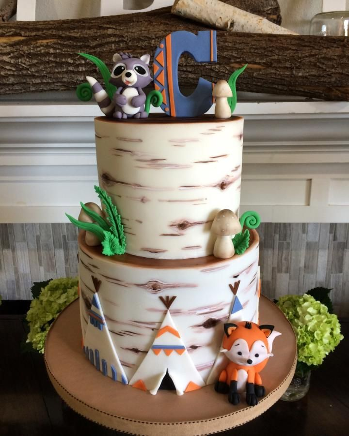 Woodland Baby Shower Cake  - Cake by Lori Mahoney (Lori's Custom Cakes)
