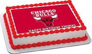 Chicago Bulls Edible Birthday Cake Topper OR Cupcake Topper, Decor